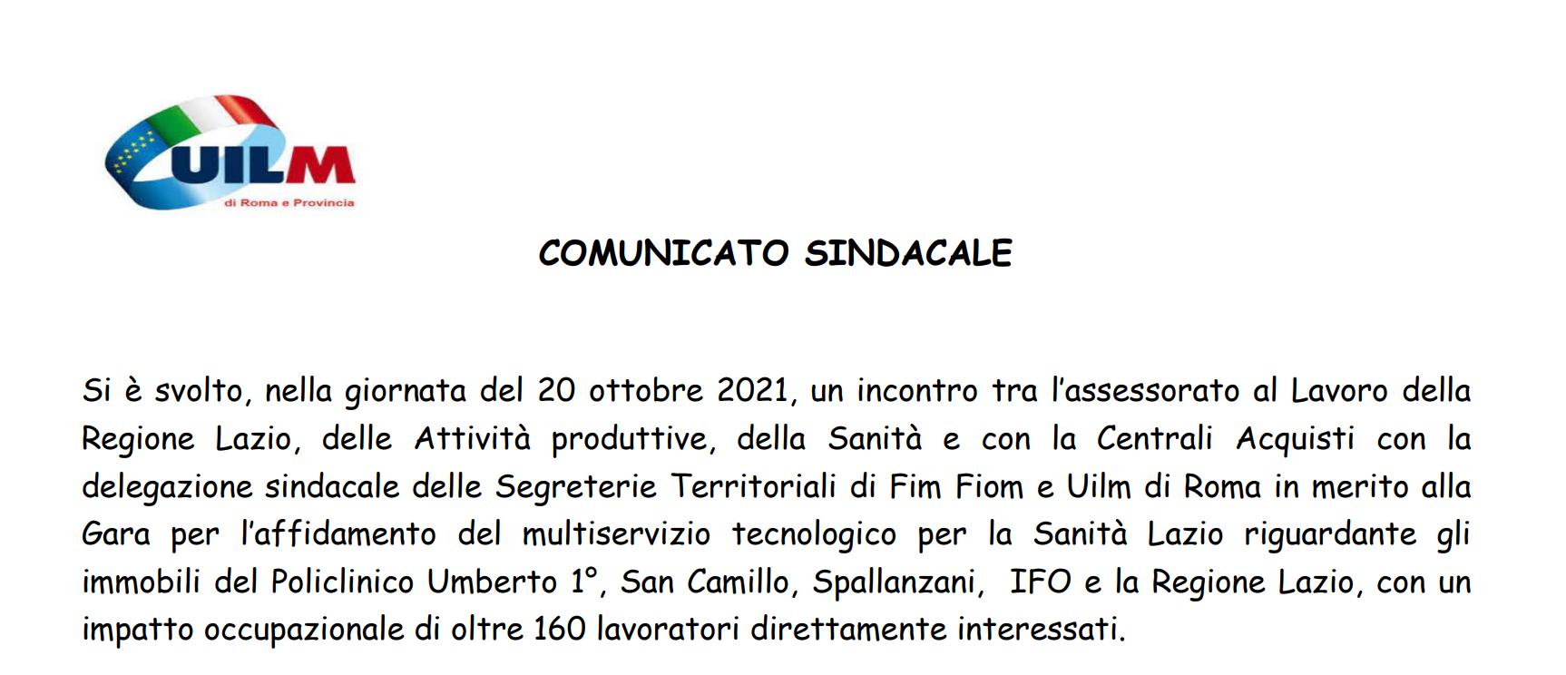 Comunicato Uilm REG Lazio 20 ottobre 21